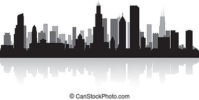 Chicago city skyline silhouette - Chicago USA city skyline ...