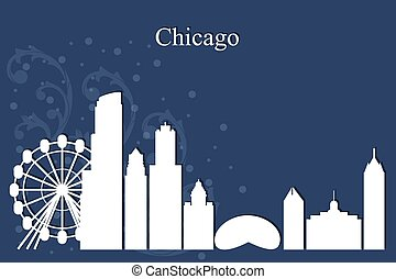 Chicago city skyline silhouette on blue background