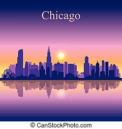 Chicago city skyline silhouette background. Vector...