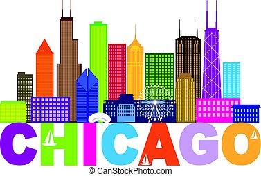 Chicago City Skyline Text Color Illustration