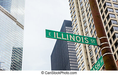 Chicago city skyscrapers, Illinois street green sign
