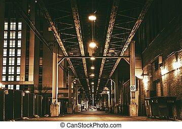 Chicago City Train Bridge in Downtown. Chicago After Dark....