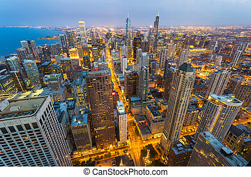 Chicago cityscape at coast