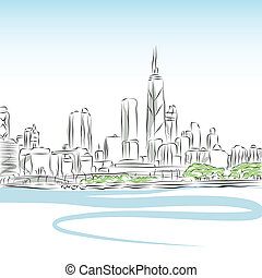 An image of a Chicago cityscape line drawing.