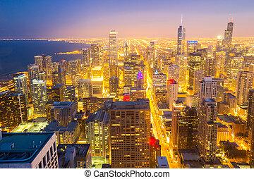 chicago, ciudad, céntrico, aéreo