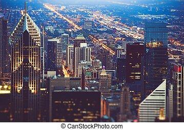 chicago, coloré, nuit