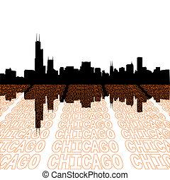 chicago, contorno, con, perspectiva, texto, contorno, primer plano