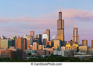 chicago, contorno, en, twilight.