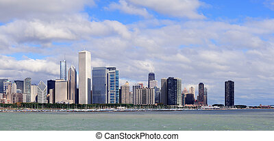 chicago, contorno, encima, lago michigan
