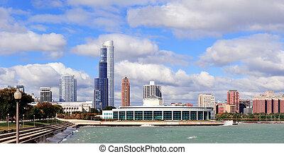 chicago, contorno, encima, lago michigan