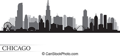 chicago, détaillé, horizon, ville, silhouette