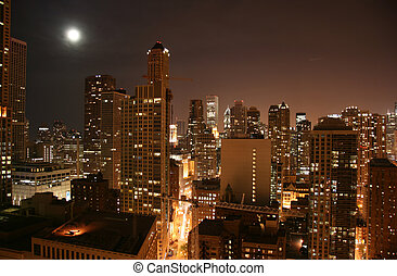 Chicago downtown aerial night view - Chicago downtown aerial...