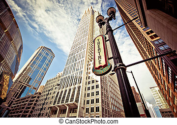 Chicago downtown at theatre district at sunset