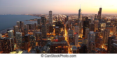 chicago, /, downtown, boven, usa, aanzicht, hoog, schemering