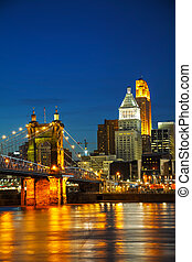 Chicago downtown cityscape - Cincinnati downtown overview...