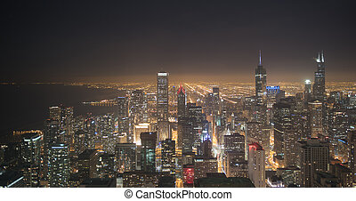Chicago downtown from aerial view at night