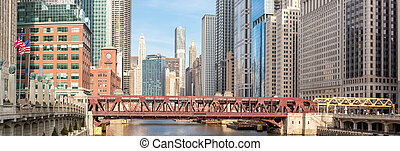Chicago downtown panorama - Panorama Chicago downtown and...