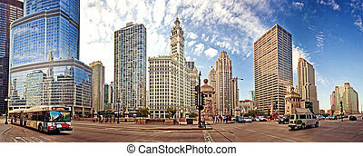 Chicago Downtown. Panoramic shot taken from Michigan Avenue