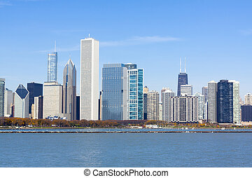 Chicago downtown skyscrapers with lake Michigan