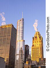 chicago, drapacze chmur, na, wschód słońca