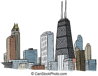 Chicago - Cartoon section of a portion of the skyline of...