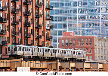 Chicago Elevated Train - CHICAGO - DECEMBER 28: An elevated...