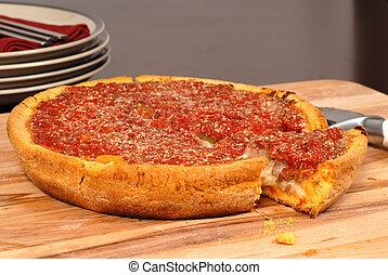 chicago, estilo, pizza funda prato, com, um, pedaço, recorte