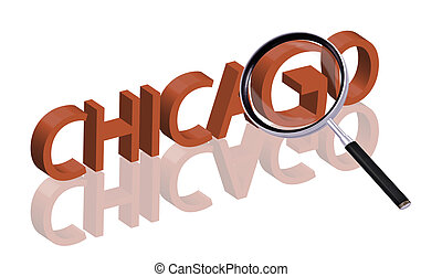 chicago - exploring city red letters in 3D part of word...