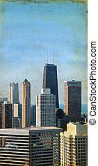 chicago, felhőkarcoló, képben látható, egy, grunge, háttér