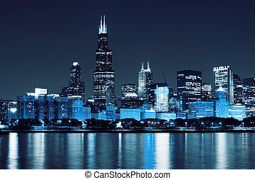 chicago), financeiro, (night, distrito, vista