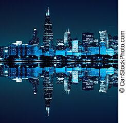 chicago), financier, (night, district, vue