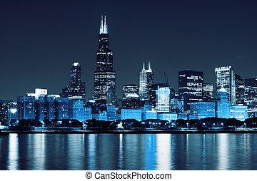 chicago), finanziario, (night, distretto, vista