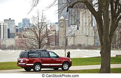Chicago Fire Department on Duty - Chicago Lake Front Park....