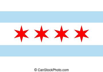 Chicago flag - Chicago city flag, state of Louisiana, U.S.A....