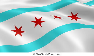 Chicago flag in the wind
