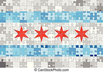 Chicago flag made of puzzle background