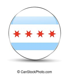 Chicago flag on a white background. Icon.