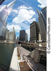 chicago fluß, während, der, tageszeit