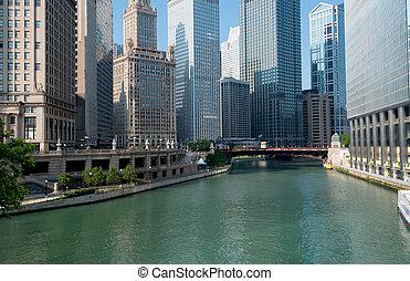 chicago folyó, város, közül, chicago, illinois, usa