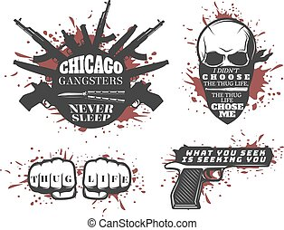 Chicago Gangster Quotes Set - Set with four isolated...
