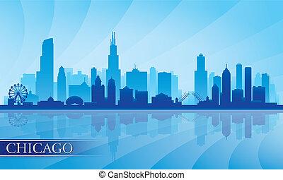 chicago, gedetailleerd, skyline, stad, silhouette