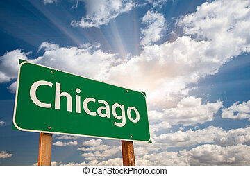 chicago, grün, straße zeichen, aus, wolkenhimmel