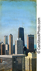 chicago, grattacieli, su, uno, grunge, fondo