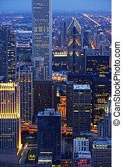 chicago, gratte-ciel, nuit