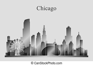 chicago, grayscale, skyline, stad, silhouette