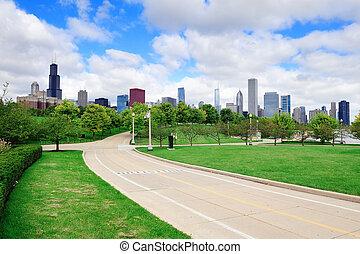 chicago, horisont, över, parkera