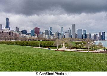 chicago, horisont, från, syd