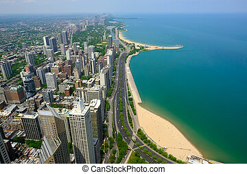 chicago, horizon, vue aérienne