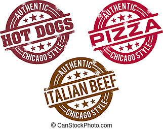 Chicago Hot Dog and Food - A set of common famous Chicago...