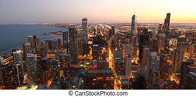 chicago, /, i centrum, ovanför, usa, synhåll, hög, skymning